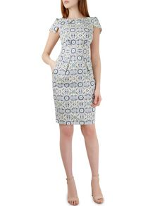 Closet Mosaic Print Tie Back Dress