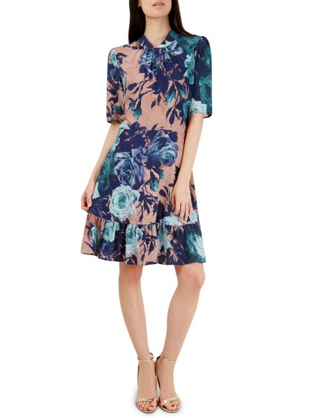 Closet Peach Blue Floral Print Dress