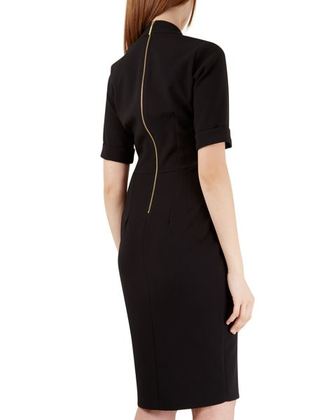 Closet Black Wrap TurnUp Sleeve Dress