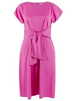 Pink Short Sleeve Tie Front Dress
