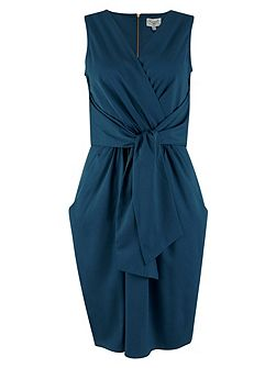 Blue Tie Front Sleeveless Dress
