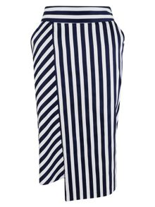 Closet Navy Stripe Panel Pencil Skirt