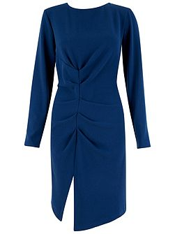Navy Gathered V Back Long Sleeve Dress
