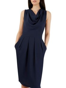 Closet Navy Cowl Neck Contrast Midi Dress