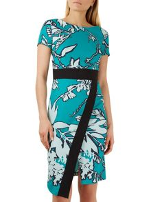 Closet Multi Contrast Floral Wrap Skirt Dress