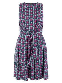 Closet Multi Tile Print Front Tie Dress