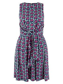 Multi Tile Print Front Tie Dress