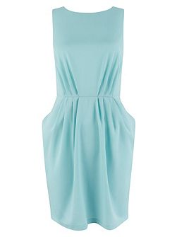 Aqua Gathered Waist Dress