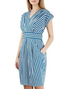 Closet Multi Stripe Print X Over Dress