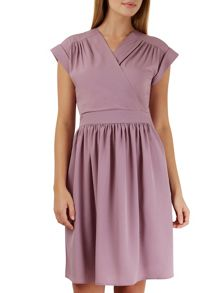Closet Lilac Cross Over Gathered Skirt Dress
