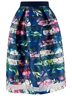 Multi Floral Full Pleat Midi Skirt