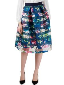 Closet Multi Floral Full Pleat Midi Skirt