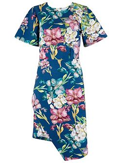 Multi V Back Floral Wrap Skirt Dress