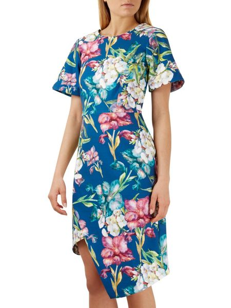 Closet Multi V Back Floral Wrap Skirt Dress