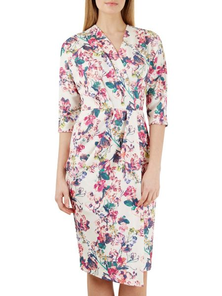 Closet Multi Floral Scuba Wrap Dress