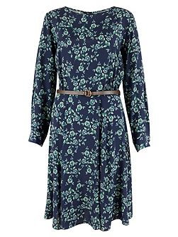 Navy Floral Bell Sleeve Belted Dress