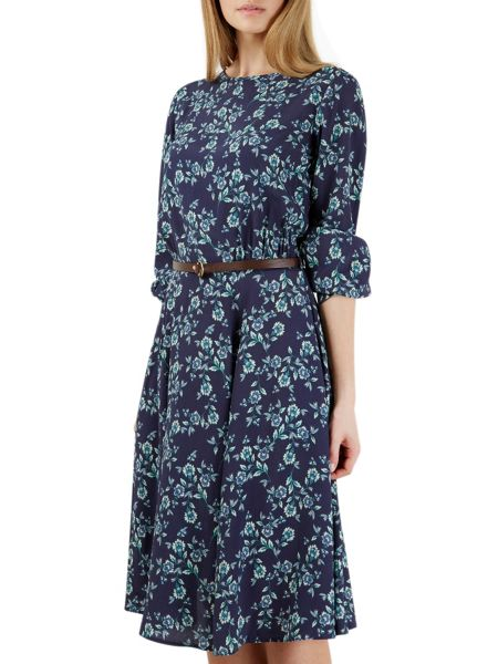 Closet Navy Floral Bell Sleeve Belted Dress