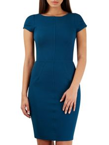 Closet Teal Textured Bodycon Short Sleeve Dress