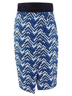 Blue ZigZag Print Tie Back Wrap Skirt