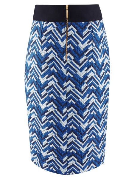 Closet Blue ZigZag Print Tie Back Wrap Skirt