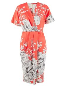 Closet Coral Floral Wrap Scuba Dress