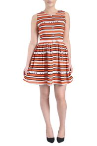 Stripe bird print dress