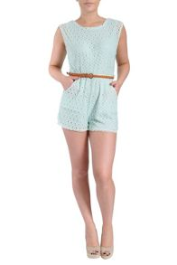 Belted lace playsuit