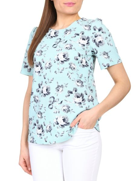Cutie Rose print textured top