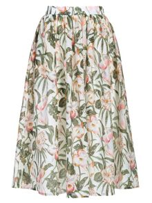 Floral jungle print skirt