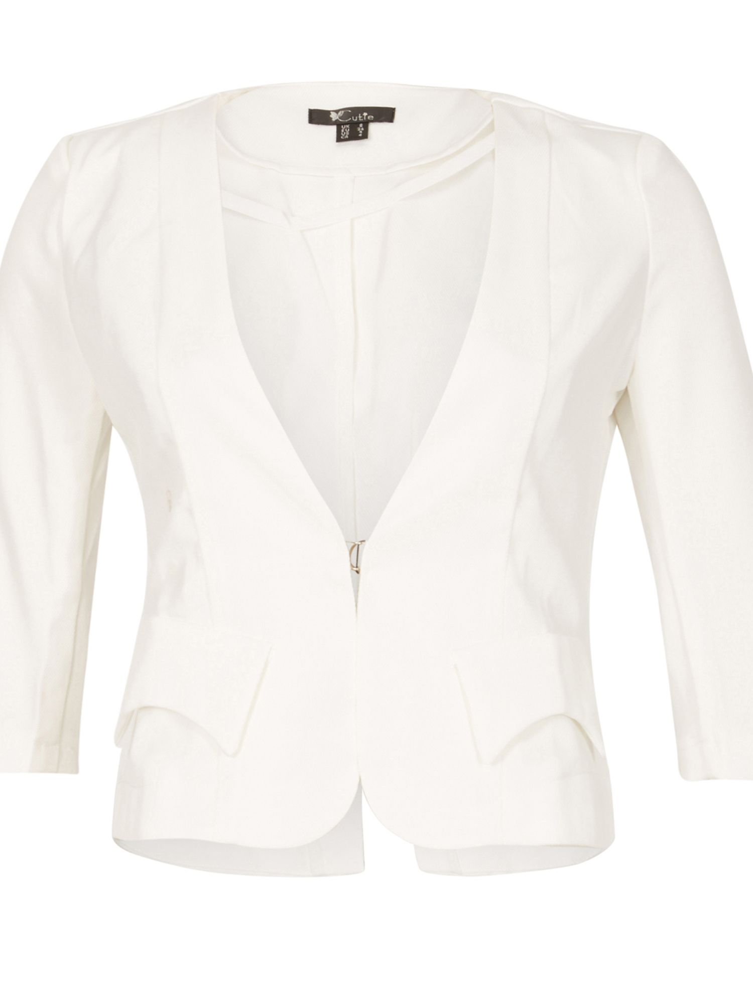 Cutie Quarter Sleeves Fitted Blazer, White