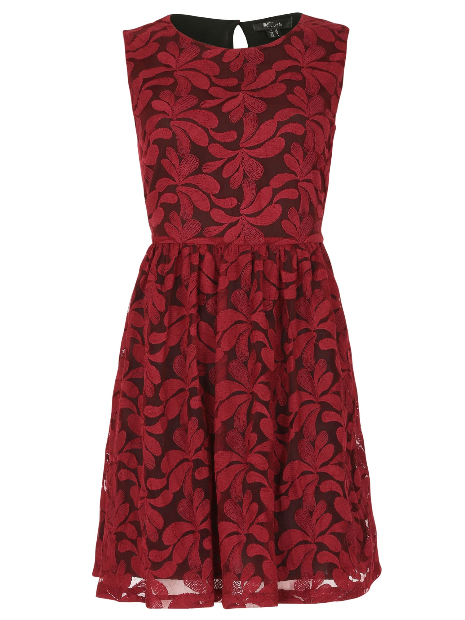 Cutie Cutie Embroidered floral net dress, Red
