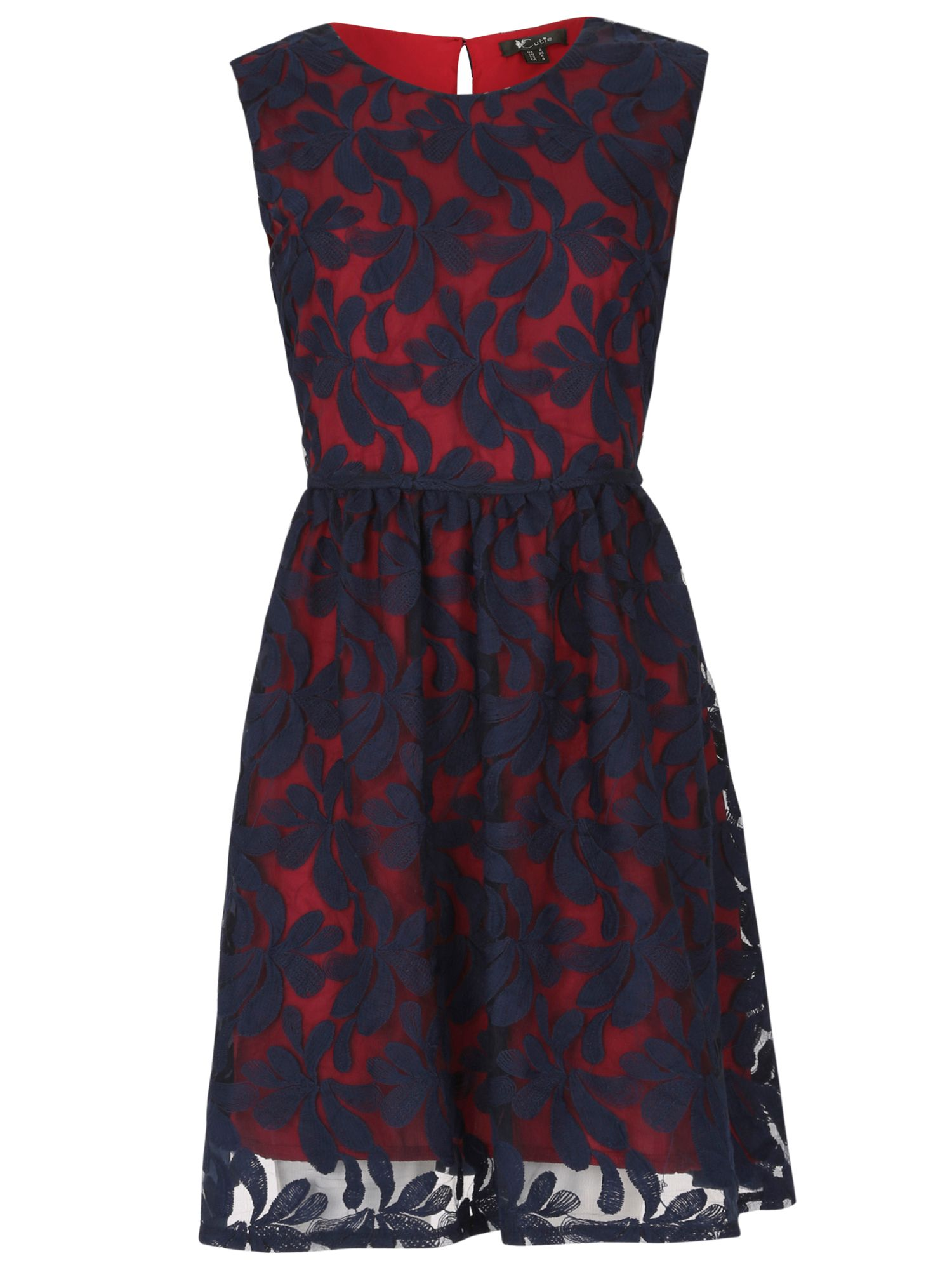 Cutie Cutie Embroidered floral net dress, Navy