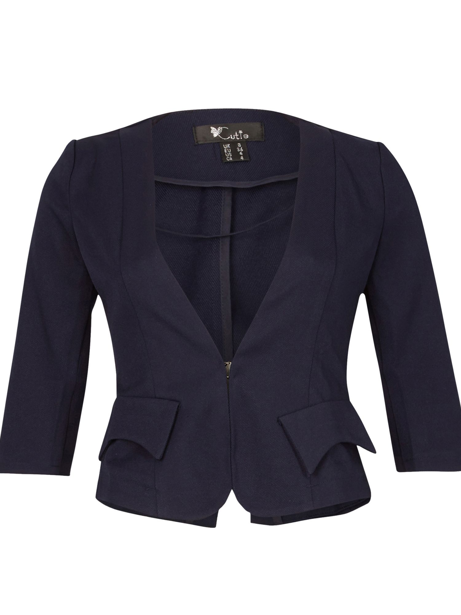 Cutie Quarter Sleeves Fitted Blazer, Blue
