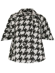 Houndstooth Caped Coat