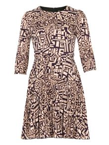 Cutie Aztec print pleated dress