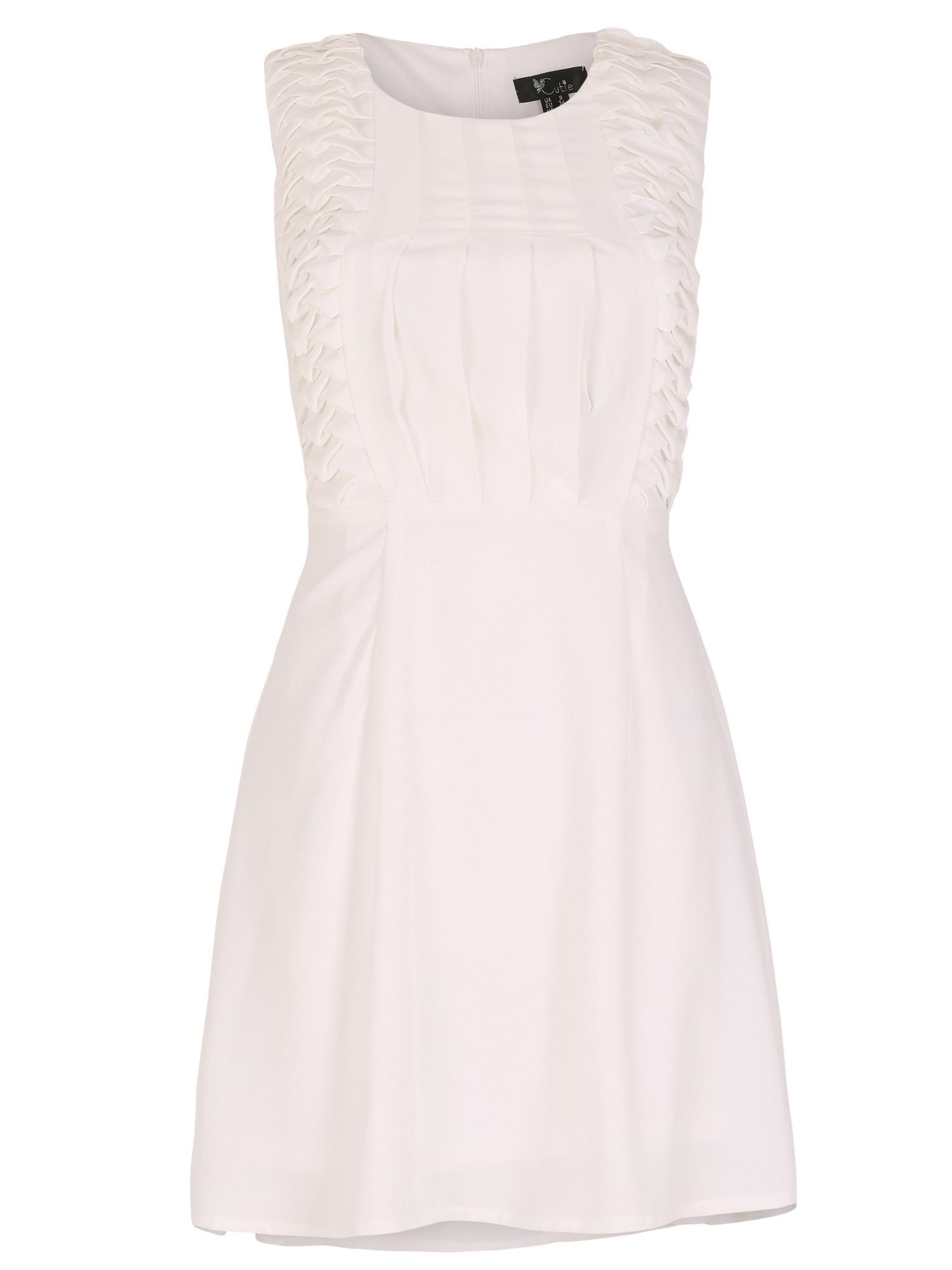 Cutie Cutie Pleated Front Dress, White