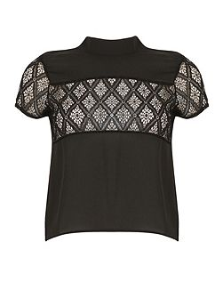 Lace Panel High Neck Top