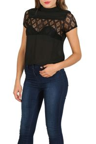 Cutie Lace Panel High Neck Top