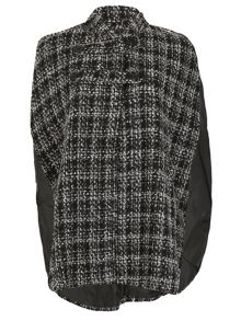 Cutie Checkered Cape Coat