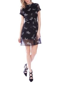 Cutie Printed Chiffon Shirt Dress