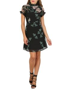 Cutie High Neck Bird Print Dress