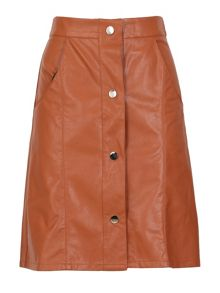 Cutie Buttoned Leather Look Skirt
