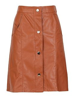 Buttoned Leather Look Skirt