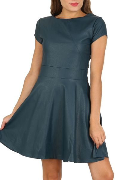 Cutie A-line Leatherette Dress