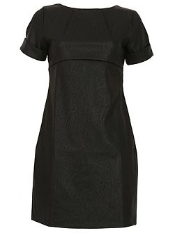 Leatherette Shift Dress