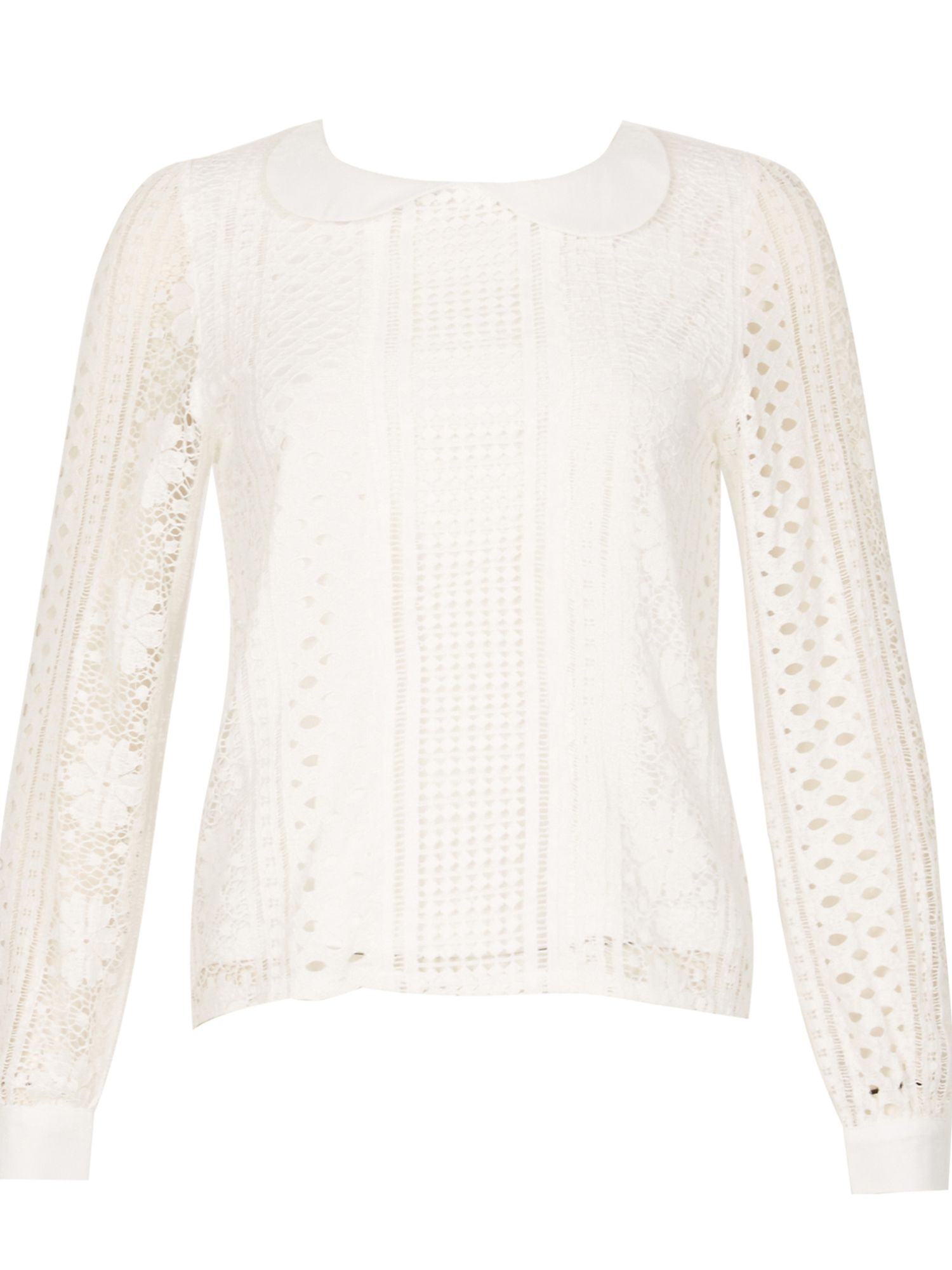 Cutie Peter Pan Lace Blouse, White