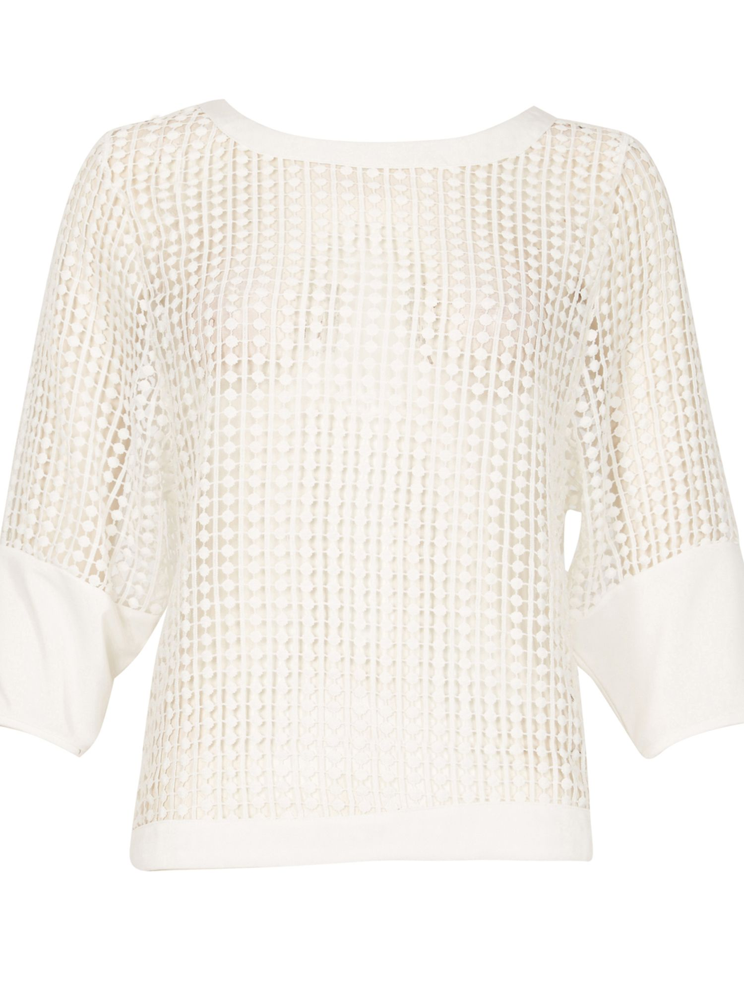 Cutie Textured Mesh Top, White