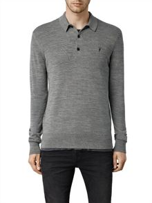 AllSaints Mode Merino Long Sleeve Polo