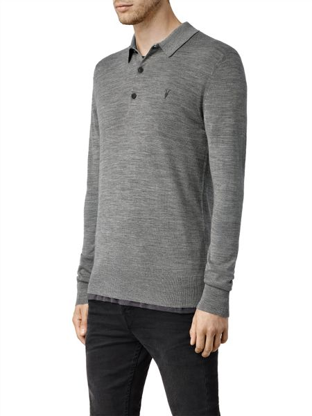 AllSaints Mode Merino Long Sleeve Polo Shirt