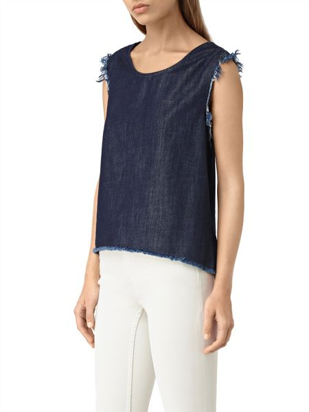 AllSaints Bloom Denim Top